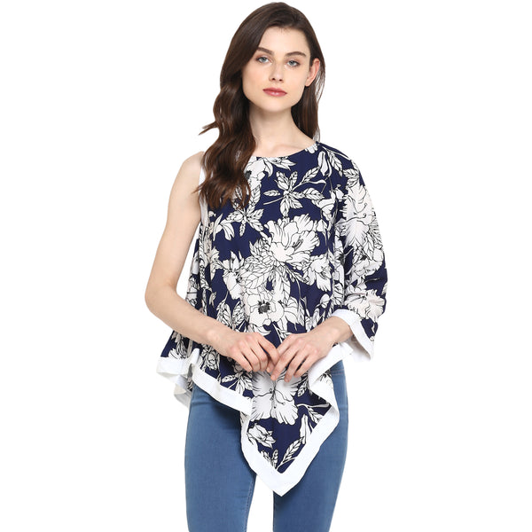 Miway Women's American Crepe blue & white Printed Casual Tunic - Miway Fashion