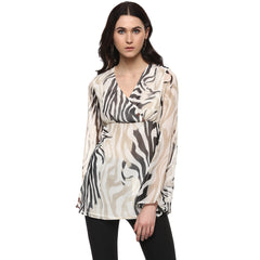 Miway Women's POLY Georgette multicolor Printed Casual Tunic - Miway Fashion