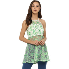 Miway Women's Polyester Net Green Printed Casual Tunic - Miway Fashion