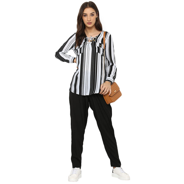 Miway Women's FRENCE CREPE Black White Stripe Casual Tunic