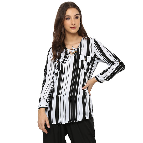 Miway Women's FRENCE CREPE Black White Stripe Casual Tunic - Miway Fashion