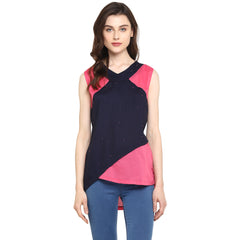 Miway Women's Cotton Black Pink Solid Casual Tunic - Miway Fashion