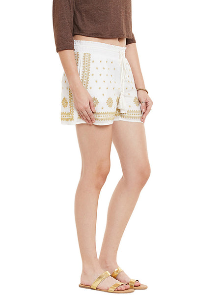 MIWAY Embroidered Cream Shorts