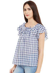 COTTON CHECKED BLUE RUFFLED TOP - Miway Fashion