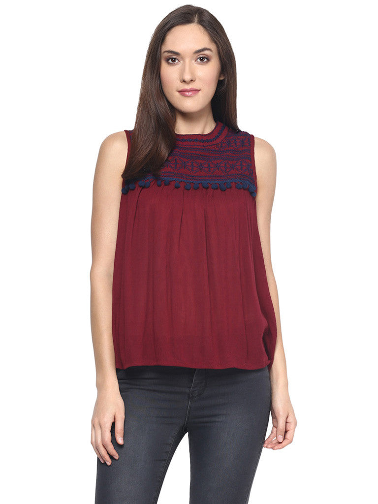 MAROON EMBROIDERED SLEEVELESS TOP WITH TASSELS - Miway Fashion