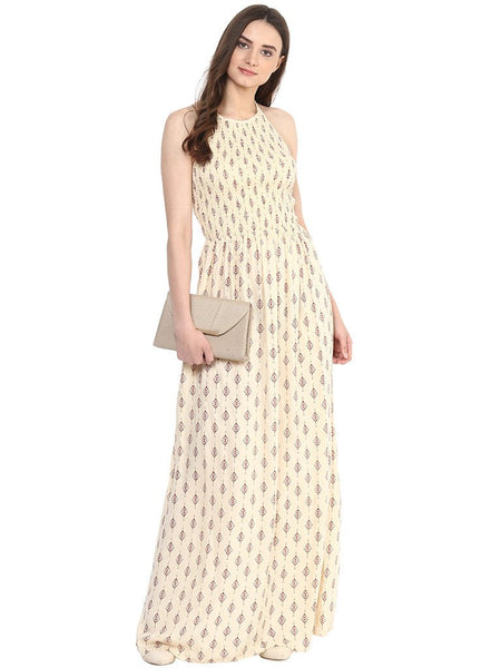 MIWAY Beige 'A' Line Maxi Dress