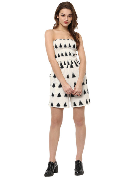 MONOCHROME PRINTED ASYMMETRICAL ROMPER - Miway Fashion