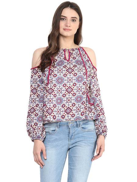 FEELING MOROCCAN COLD SLEEVE TOP - Miway Fashion