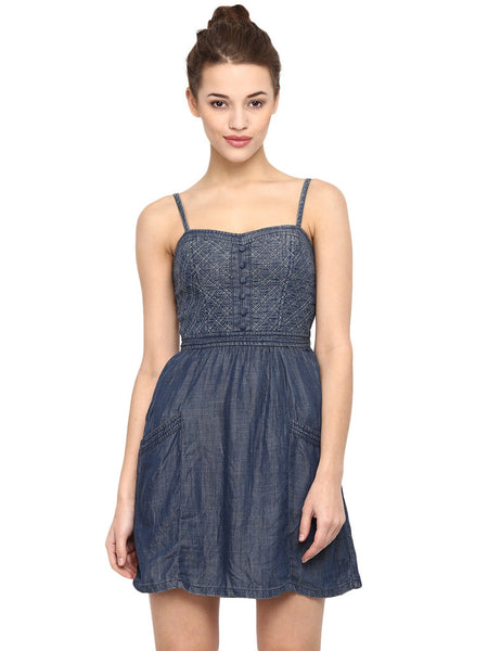 DENIM MADONNA DRESS - Miway Fashion
