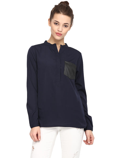 LEATHER POCKET NAVY SHIRT - Miway Fashion