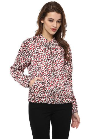 SATIN PRINTED BOMBER JACKET - Miway Fashion