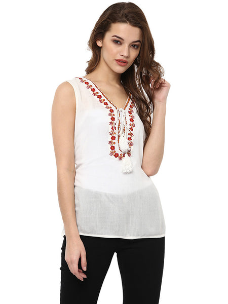 GRACE EMBROIDERED SLEEVELESS TUNIC TOP - Miway Fashion
