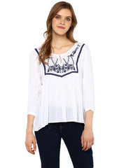 EMBROIDERED YOKE TUNIC TOP - Miway Fashion