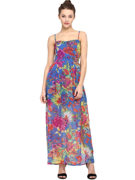 SEA SIDE SMOCKED BARE LEGGED PRINTED MAXI DRESS - Miway Fashion