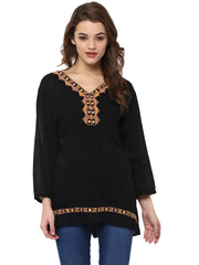 MIDNIGHT BLACK EMBROIDERED TUNIC - Miway Fashion