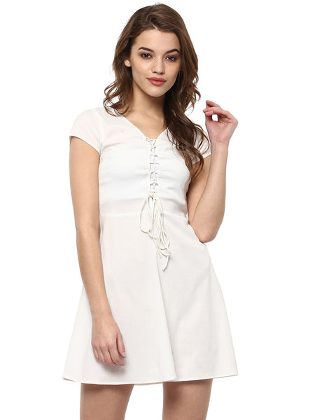 LACE UP DRESS - Miway Fashion