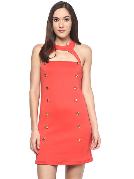 RED ALERT BUTTONED BODYCON DRESS - Miway Fashion