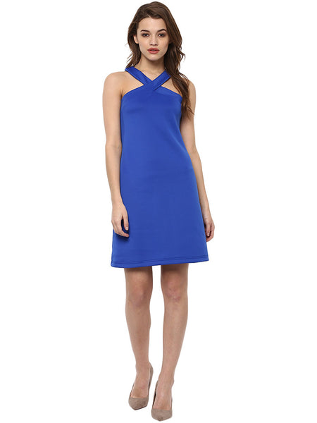 Miway Royal Blue poliknit Straight Bodycon Dress