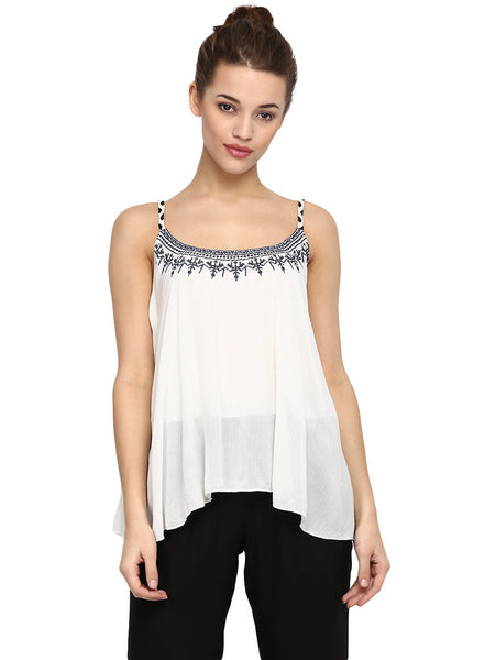 Miway White Printed Strappy Top