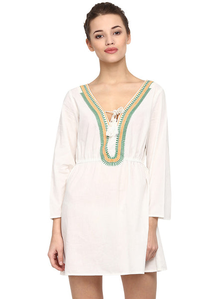EMBROIDERED WHITE TUNIC - Miway Fashion