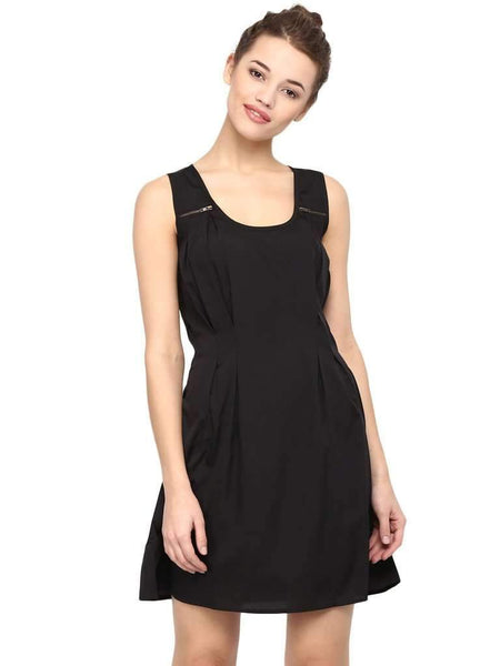 ACCESSORIZED WITH ZIP SOLID BLACK DRESS