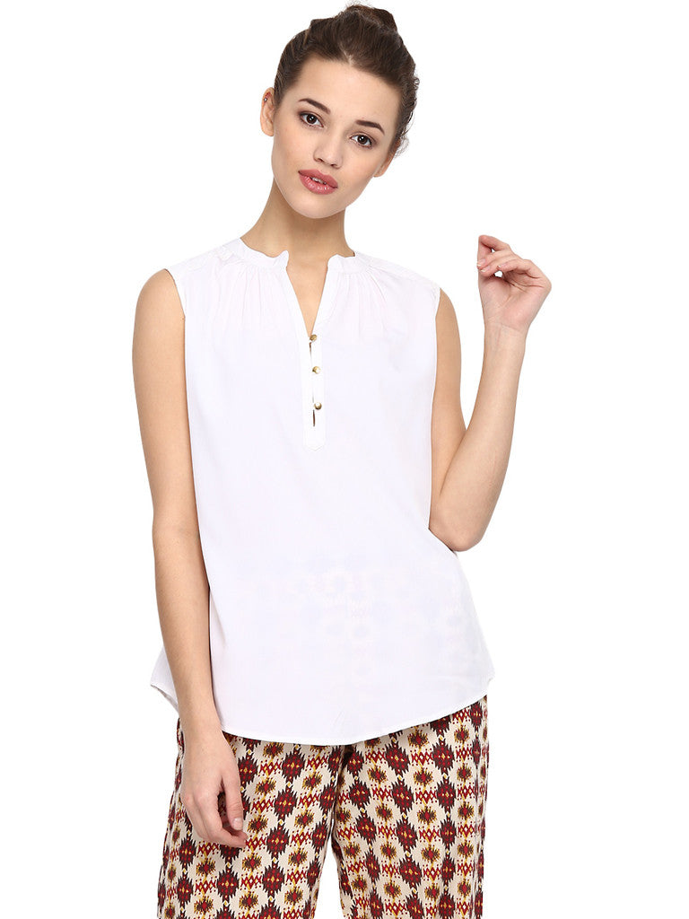 ESSENTIAL WHITE SLEEVELESS TOP - Miway Fashion