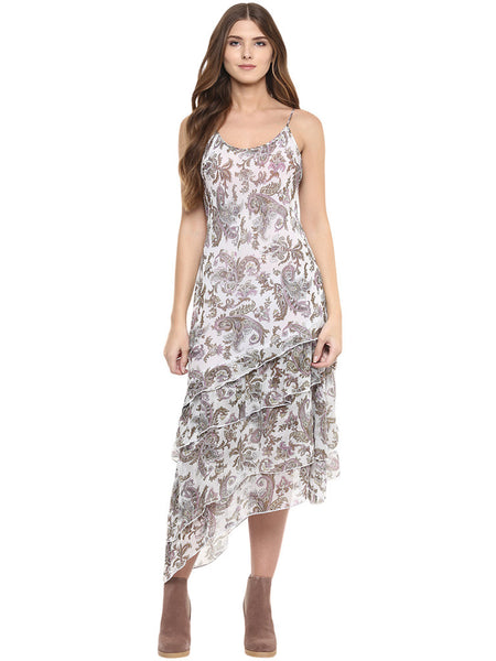 PRINTED LAYERED ASYMMETRICAL HEM RUFFLED DRESS - Miway Fashion