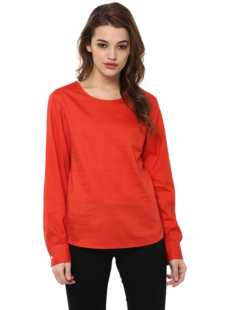 GLAZED COTTON  RUST TOP - Miway Fashion