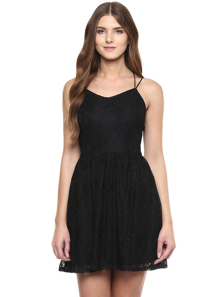Miway Miway women's black lace dress