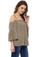 MIWAY Coffee Printed Top