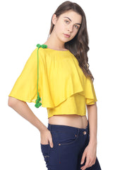 YELLOW  CROP TOP WITH POMPOMS - Miway Fashion