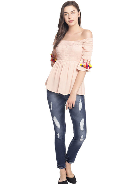 SMOCKED PEACH SOLID ACCESSORIZED CROP TOP