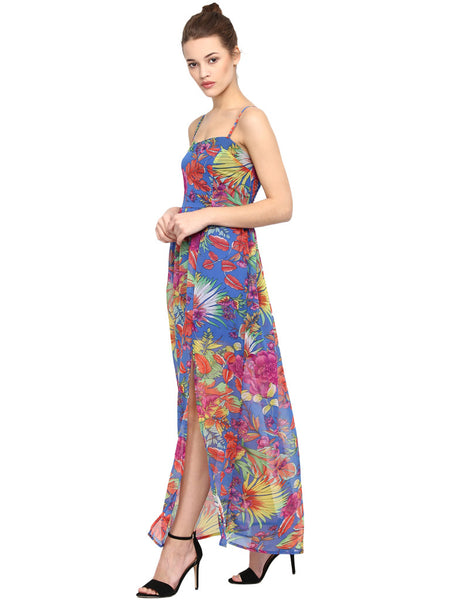SEA SIDE SMOCKED BARE LEGGED PRINTED MAXI DRESS