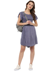TIE BACK BLUE SUN DRESS - Miway Fashion