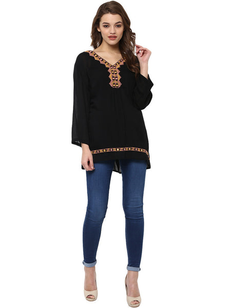 MIDNIGHT BLACK EMBROIDERED TUNIC
