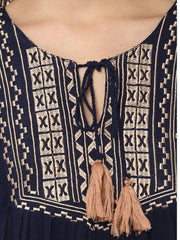 BLUE EMBROIDERED BOHEMIAN TUNIC TOP - Miway Fashion