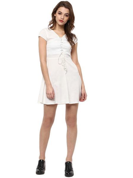 MIWAY Macaroon Cream Lace Up Dress