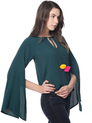 GREEN FLUTE SLEEVE TOP WITH POMPOMS - Miway Fashion