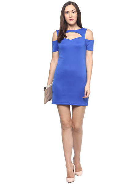 Miway Royal Blue Bodycon Cold Shoulder Dress