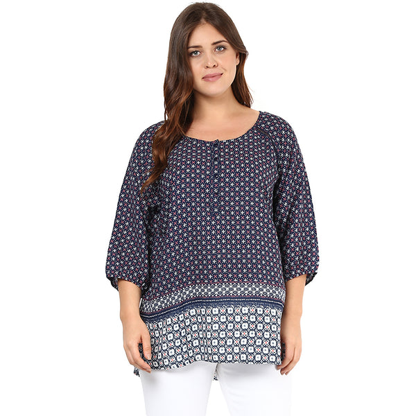 BORDER PRINTED TUNIC - Miway Fashion