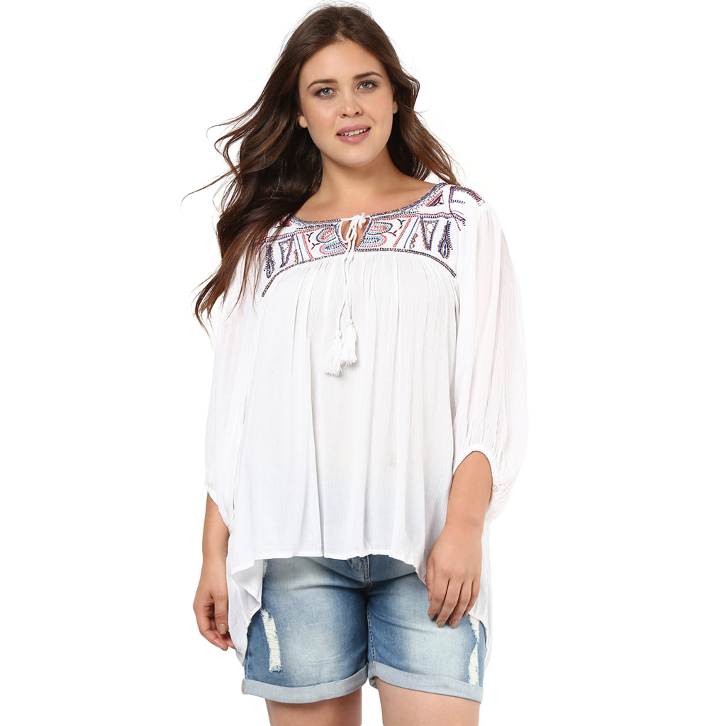 BOHEMIAN EMBROIDERED TUNIC - Miway Fashion