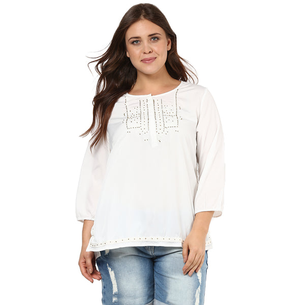 METALLIC BEADED  EMBROIDERED TUNIC - Miway Fashion