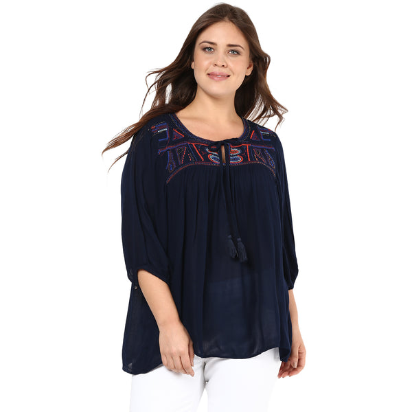 MARINE EMBROIDERED BOHEMIAN TUNIC - Miway Fashion