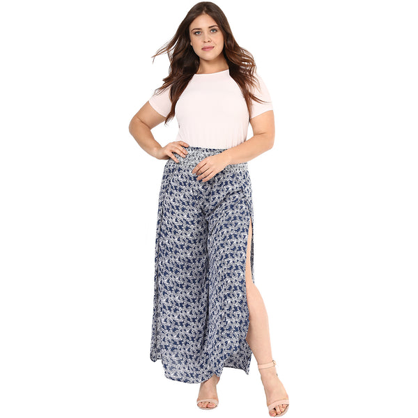 Plus Wink Multicolor Printed wrap Pants with smoked elastic band