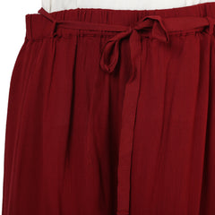 PLUS WINK MAROON SOLID TIE BELT PALAZZO - Miway Fashion