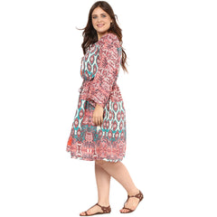 Plus Wink Multicolor Printed dress - Miway Fashion