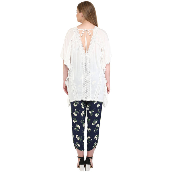 Plus Wink White Embroidery Solid Kaftan