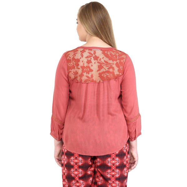 RUSTY LACE INSERTED TUNIC