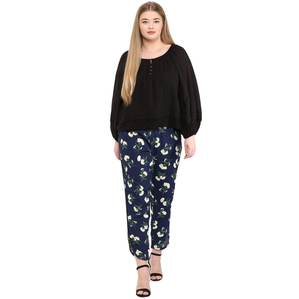 PLUS WINK NAVY FLORAL TAPERED PANTS - Miway Fashion
