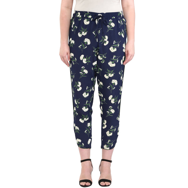 PLUS WINK NAVY FLORAL TAPERED PANTS